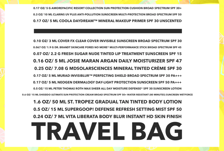 List of items in Sephora favorites suncare safety bag