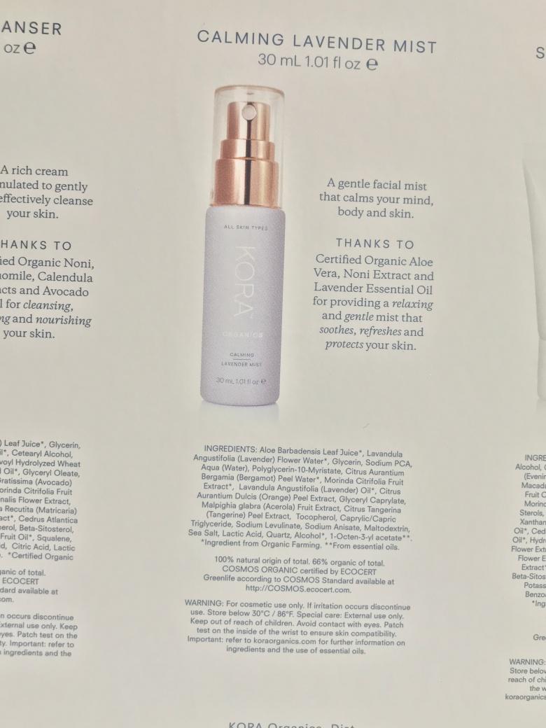 photo kora Organics calming lavender spray - Unboxing daily ritual set from Sephora for Sensitive Skin