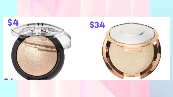 Dupe highlighter BECCA Light Chaser Highlighter $34 & Elf Baked Highlighter $4