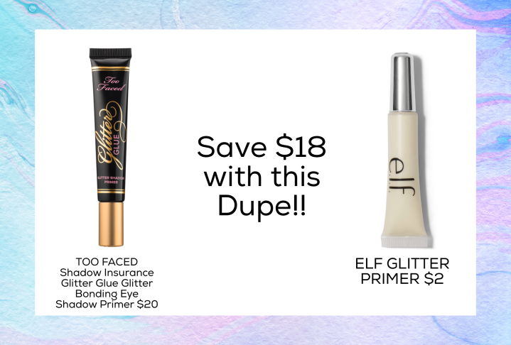 Glitter eye primer too Faced dupe Drugstore 2018