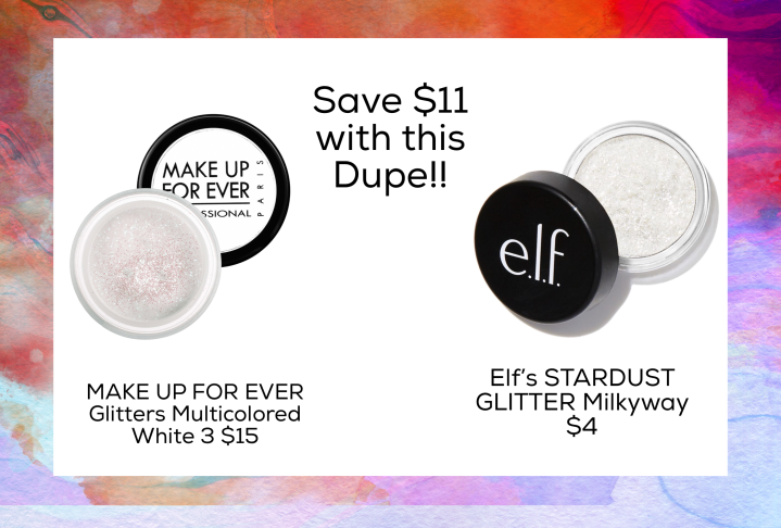 Dupe for MAKE UP FOR EVER Glitters Multicolored White 3 $15  Elf's STARDUST GLITTER Milkyway