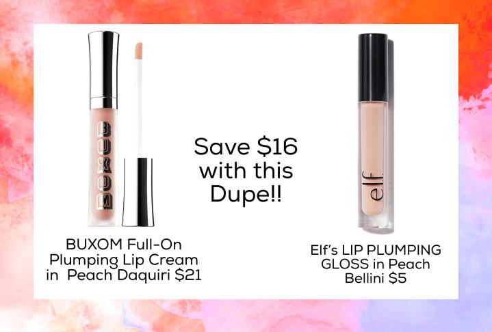 Dupe for BUXOM Full-On Plumping Lip Cream in Peach Daiquiri $21  Elf's LIP PLUMPING GLOSS in Peach Bellini